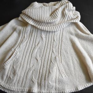 Cream Sweater Poncho with Cowl